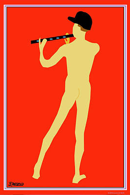 Pop Art Painting - Flute Player by Laurence Wolfe