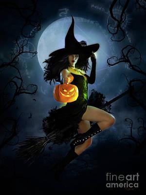 Fantasy Mixed Media - Fly by Night Halloween by Shanina Conway