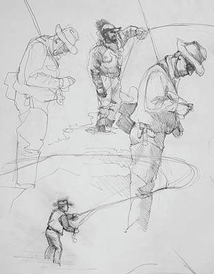 Drawing - Fly Fisherman Sketch by Jani Freimann