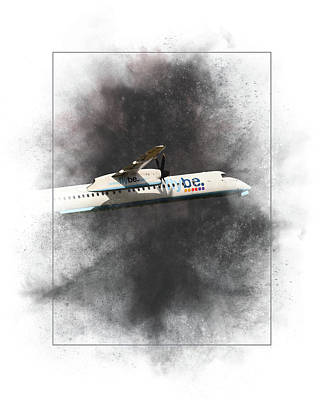 Mixed Media - Flybe Bombardier Dash 8 Q400 Painting by Smart Aviation