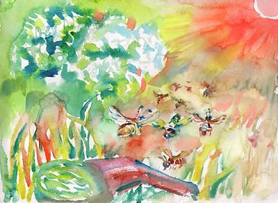 Painting - Flying Bee by Dobrotsvet Art
