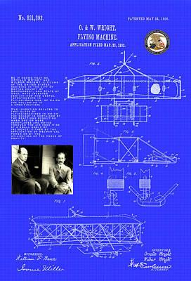 Digital Art - Flying Machine Patent Drawing by Carlos Diaz
