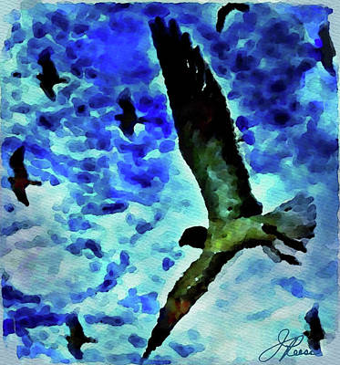 Art Print featuring the painting Flying Seagulls by Joan Reese