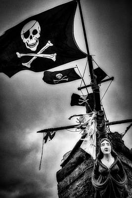 Photograph - Flying The Black Flag In Black And White by Garry Gay
