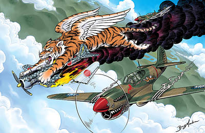 Digital Art - Flying Tigers by Barry Munden