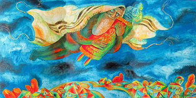 Painting - Flying With Torah by Leon Zernitsky