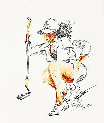 Drawing - Focus Womens Golf by C F Legette