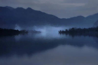 Digital Art - Fog On The Dark Mountain Lake by Menega Sabidussi