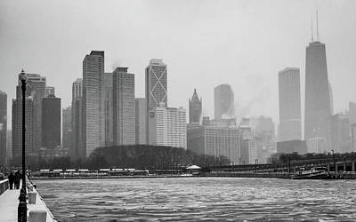 Photograph - Foggy Chicago Black And White by Framing Places