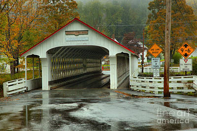Photograph - Foggy Fall Foliage At The Ashuelot Covered Bridge by Adam Jewell