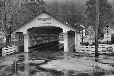 Photograph - Foggy Fall Foliage At The Ashuelot Covered Bridge Black And White by Adam Jewell