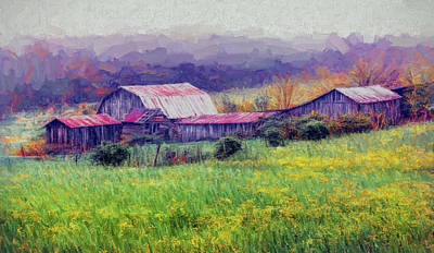 Painting - Foggy Farm In The Blue Ridge Ap by Dan Carmichael