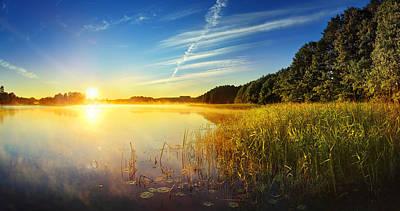Photograph - Foggy Lake At Dusk - Hdr Panorama by Konradlew