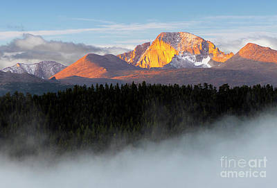 Steven Krull Royalty-Free and Rights-Managed Images - Foggy Longs Peak at First Light by Steven Krull