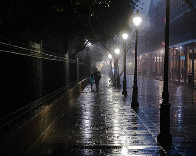 Thomas Kinkade Royalty Free Images - Foggy Night in Jackson Square Royalty-Free Image by William Graham