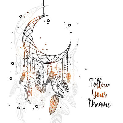 Digital Art - Follow Your Dreamcatcher - Boho Chic Ethnic Nursery Art Poster Print by Dadada Shop
