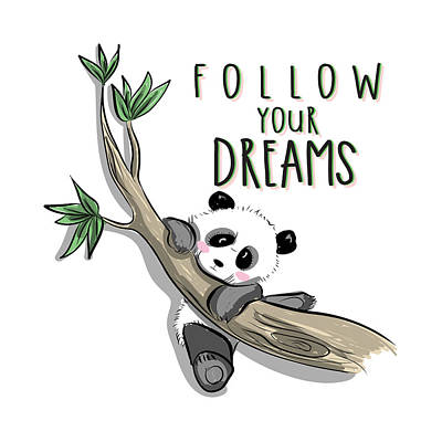 Digital Art - Follow Your Dreams - Baby Room Nursery Art Poster Print by Dadada Shop