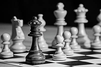 Photograph - Fool's Mate Checkmate Fastest Possible Checkmate Queen Black And White by Toby McGuire