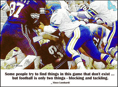 Photograph - Football Action Line Of Scrimmage Pileup by A Gurmankin
