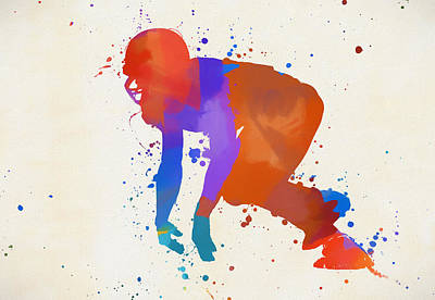 Sports Paintings - Football Lineman by Dan Sproul