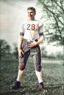 Sports Paintings - Football player in uniform 1932 colorized by Ahmet Asar by Ahmet Asar