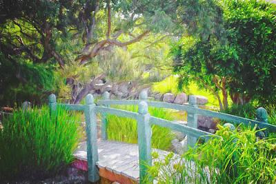 Digital Art - Footbridge In The Garden by Alison Frank