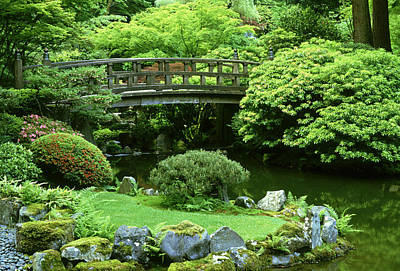 Photograph - Footbridge Japanese Garden  Portland by Adam Jones