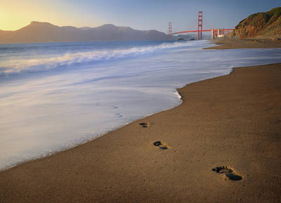 Photograph - Footprints Leading To Golden Gate Bridge by 4fr