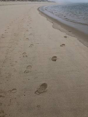Roaring Red - Footprints on the Beach by Kat Tancredi