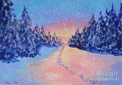 Painting - Footsteps In The Snow by Li Newton