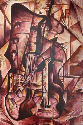 Painting - For the love of Music by Shuanteya Sherman