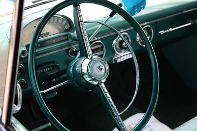 Art Print featuring the photograph 1955 Ford Fairlane Steering Wheel by Debi Dalio