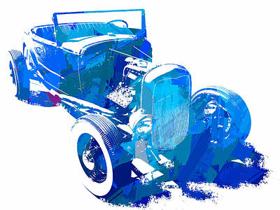 Photograph - Ford Flathead Roadster Two Blue Pop by David King