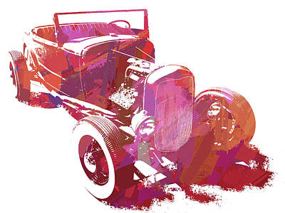 Digital Art - Ford Flathead Roadster Two Pop by David King