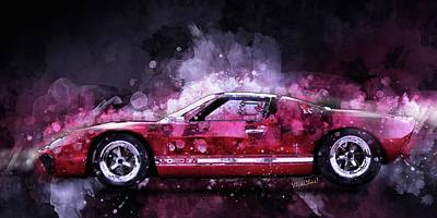 Digital Art - Ford Gt 40 Night Moves by Chas Sinklier