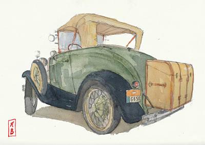 Drawing - Ford Model A Roadster Deluxe by Javier Gonzalez de Castejon