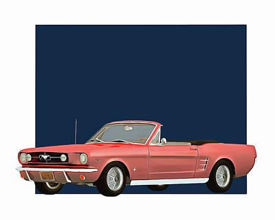 Digital Art - Ford Mustang 1964 Convertible by Jan Keteleer