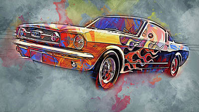 Painting - Ford Mustang Fastback 1966 - 06 by Andrea Mazzocchetti