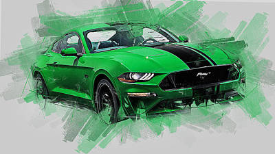 Painting - Ford Mustang Fastback 2018  by Andrea Mazzocchetti