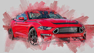 Painting - Ford Mustang Rtr 2019 by Andrea Mazzocchetti