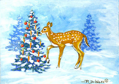 Painting - Forest Christmas Banquet Sketch by Richard De Wolfe