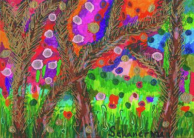 Drawing - Forest Of Many Colors by Susan Schanerman