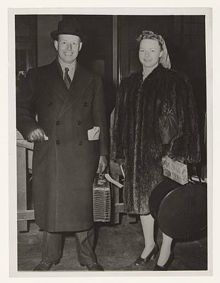 Music Figurative Potraits - Former governor-general Tjarda van Starkenborgh and his daughter in New York, Associated Press, 1946 by MotionAge Designs