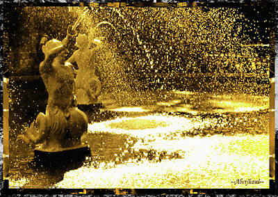 Photograph - Forsyth Park Tritons In A Cascade Of Gold by Aberjhani