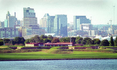 Photograph - Fort Mchenry With Baltimore Background by Bill Swartwout Photography