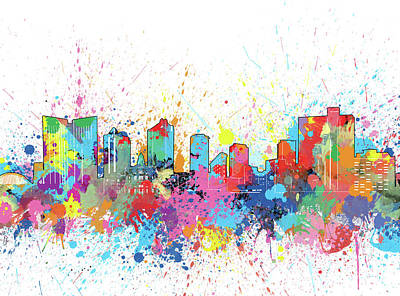 Digital Art - Fort Worth Skyline Artistic by Bekim Art