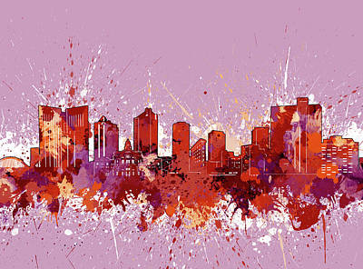 Abstract Skyline Royalty-Free and Rights-Managed Images - Fort Worth Skyline Artistic Red by Bekim M