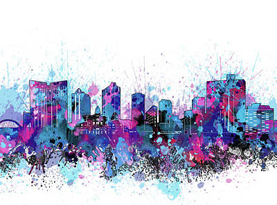 Abstract Skyline Royalty-Free and Rights-Managed Images - Fort Worth Skyline Color Splatter by Bekim M