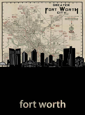 Digital Art - Fort Worth Skyline Map by Bekim Art