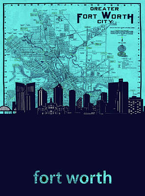 Digital Art - Fort Worth Skyline Map Blue 2 by Bekim Art